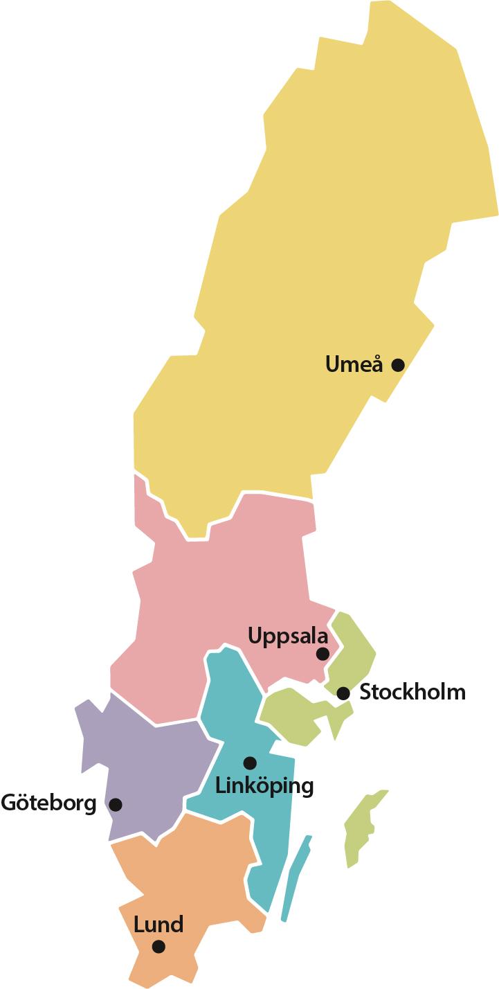 Karta över upptagningsområden för respektive rättsmedicinsk enhet i landet.