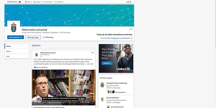 Skärmklipp från Rättsmedicinalverkets LinkedIn.