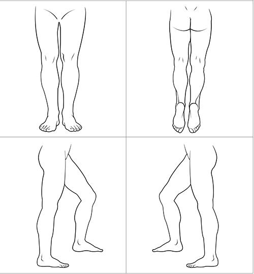 Kroppsskiss över benen och fötterna