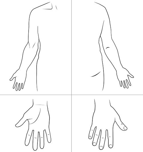 Kroppsskiss över höger arm och hand